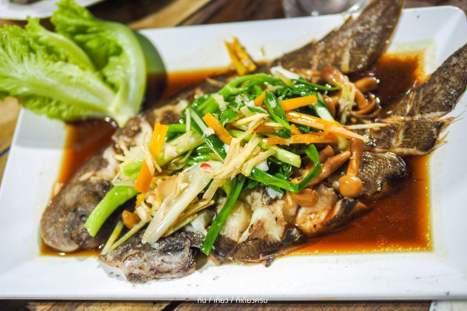 ปลาลิ้นหมานึ่งซีอิ้ว เล็กหงษ์ข้าวต้มปลา ตลาดพลู